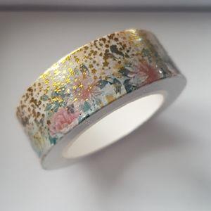 🆕 NEW Gold Flower Design Washi Tape 15mmx10m